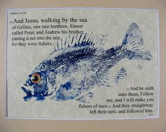 Fishers of men Bible Passage Art... 8X10 Original Cottage Decon Minister Priest Gift GYOTAKU Fish Art Rubbing matted