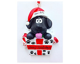 Black Dog Christmas Ornament / New Puppy Ornament / First Pet / First Dog / Pet Christmas Ornament