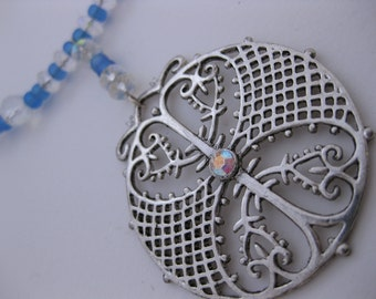 Antiqued Pewter Dangling Celtic Rhinestone Pendant Memory Wire Choker Style Necklace w/ Swarovski Crystals & Frosted Blue Glass Beads