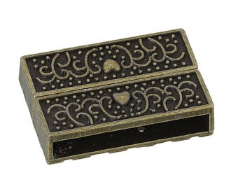 Rectangular magnetic clasp Bronze heart - SC71717 - creating jewelry-