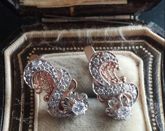 Russian 14k Gold Diamond Earrings PRICE REDUCED