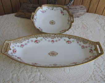 Nippon Celery and Bowl Gold Trimmed Porcelain Morimura Brothers Antique Dinnerware and Replacements