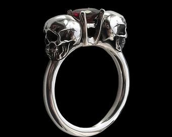 Skull engagement ring - Sterling Silver Dark Gothic Skull Engagement Ring with Red Garnet - Love to Death Ring Inspired by Lovers Of Valdaro