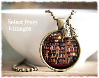 Book Lover Jewelry • Gift For Reader • Book Necklace • Bibliophile • Literary Gifts • Librarian Gift • Book Jewelry