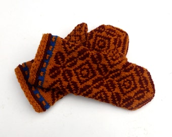hand knitted latvian wool mittens patterned  brown wool mittens knit fire isle mitts arm warmers baltics gloves women's hand muffs