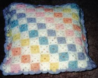 Pastel And White Checkerboard Afghan/Quillo Pattern