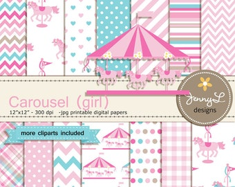 Carousel Digital Paper, Pink Girl Horse, Carnival Clipart, Merry Go Round Baby Shower, Birthday, Wedding for Invitations, Scrapbooking Party