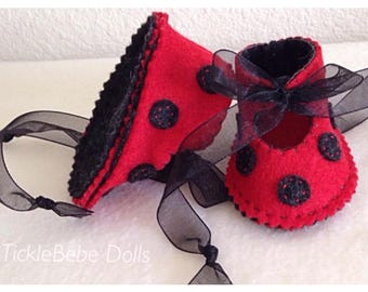 Ladybug Doll Shoes - Handcrafted 100% Wool Felt - Red, Black Dots - Handstitched  - TickleBebeDolls