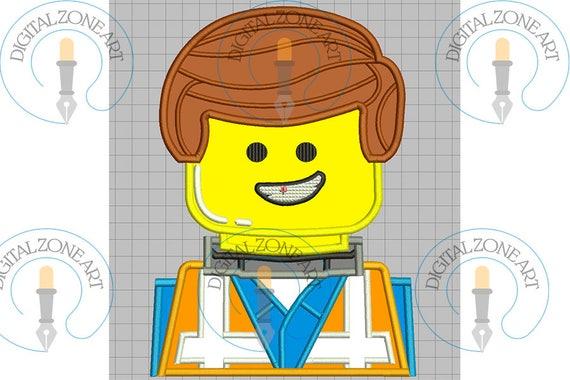 Emmet Lego Applique-Emmet Lego Portrait Head-Lego Movie-Machine ...