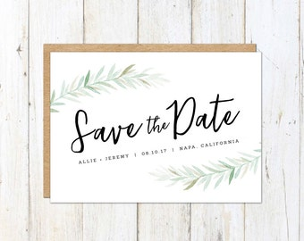 Rustic Save the Date, Watercolor Leafy Save the Date, Simple Calligraphy Save the Date