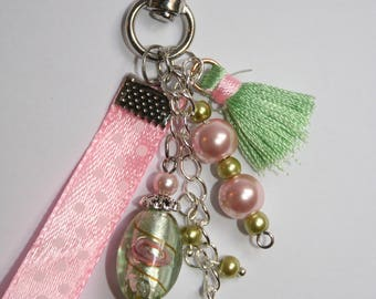 Pastel bag with Lampwork bead, gift idea, mother's day, Mothers' Day