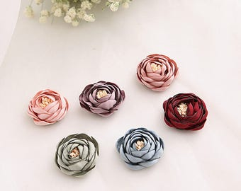 Handmade Fabric Flowers 35mm, Mix 6 Colors (#FB002)