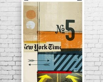 New York inspired print, New York art print, fine art print, typographic print, collage art print, typographic art, New York collage art