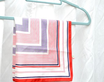 Célina red, white and blue vintage scarf