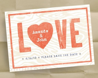 Custom LOVE Save the Date Invitations - Wedding Announcements - Personalized Woodgrain Design - 150 Postcards