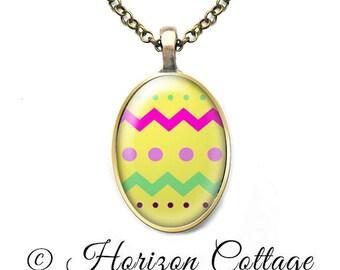 Easter Egg Necklace, Easter Pendant, Easter Jewelry, Egg Pendant, Altered Art Pendant