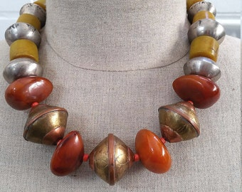 On Sale!  Moroccan Berber faux amber and hand made Tuareg coin silver/copper bead necklace. tribalgallery