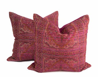 "Pair of 22""Magenta and orange chenille pillow covers"