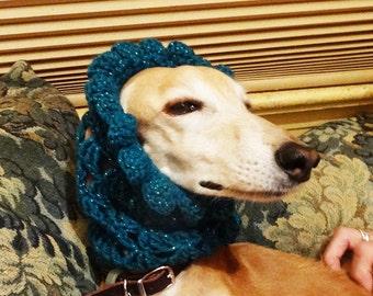 Handmade Crochet Hound Snood Saluki Sighthound One of a Kind Sparkly  Teal