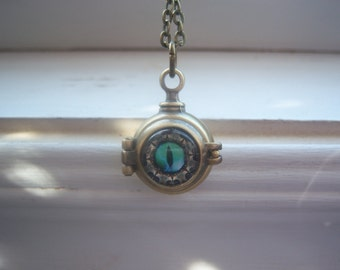EyeBall Locket - Evil Eye Necklace  - Eye Locket - Steampunk Necklace -Orb Necklace - Free Gift With Purchase