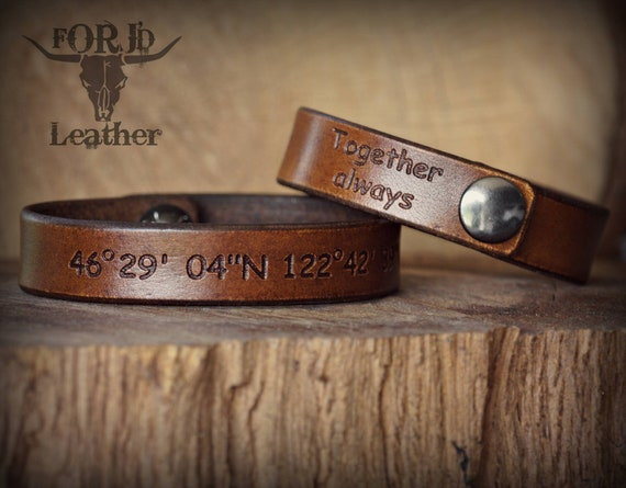 Men's leather bracelet, women's leather bracelet, Molon Labe leather bracelet