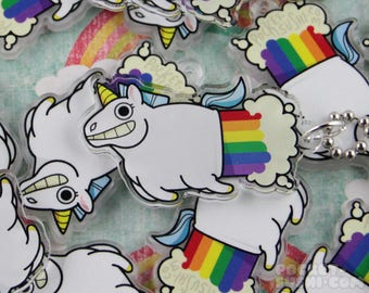 Rainbow Farting Unicorn Acrylic Charm - for cell phones, zipper pulls & key chains