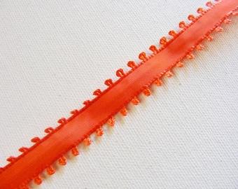 Vintage 1940's French Picot Ribbon 5/8 inch Gorgeous Poppy Orange