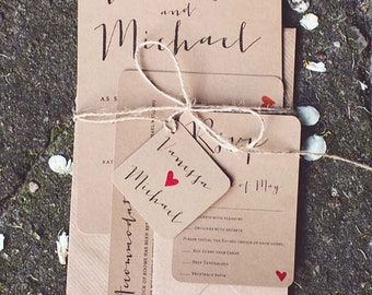 Krafted Love II Wedding Invitation Set - Eko Kraft Wedding Invitations - Sample Pack or Deposit - Wedding Invitations by Pineapple