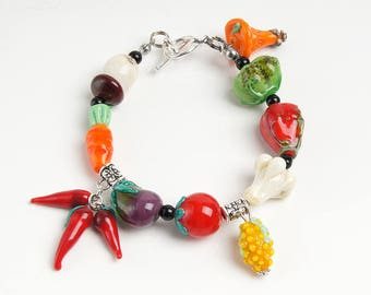 Vegetables lampwork bracelet, glass vegetable, nature bracelet, garden bracelet, colorful bracelet, orange violet bracelet, harvest bracelet