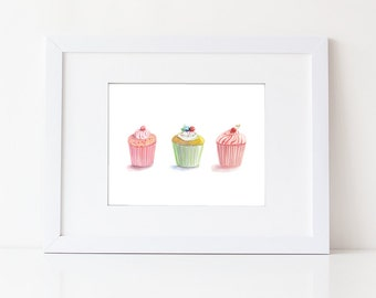 Pink Cupcake Art - Watercolor Cupcakes - Food Art Print - Kitchen Art - Nursery Decor - Pink Girls Room - Pink Desserts - Gift