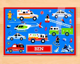 Olive Kids Personalized Heroes Placemat, Kids Placemat, Fire Truck Placemat, Police Car Placemat, Laminated Placemat