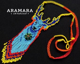 Native american necklace, Huichol necklace, Mexican Jewelry, Peyote necklace, Huichol Jewelry, Mexican Necklace, Deer necklace, CAM-0015