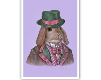Rabbit Art Print - Dandy Rabbit - Cute Pet Rabbit Wall Art - Pets in Art - Whimsical Animal Portraits by Maria Pishvanova
