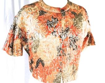 New Old Stock (NOS) / Dead stock -  Vintage, Designer, melba hobson for Mr. Gee Orange, Green & Gold Lame Jacket Medium
