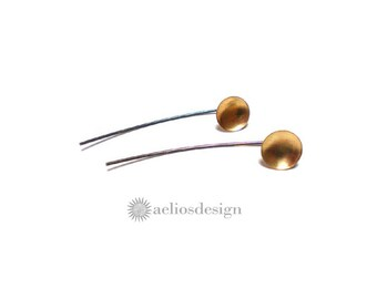 Sterling Silver Behind the Ear Long Post Earrings Brass Circle Studs