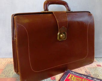 1970s chestnut brown leather briefcase or attache case vintage leather luggage