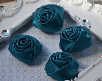 """1.5"""" Teal Satin Fabric Roses, Satin Rolled Rosettes, Satin Flowers, Rolled Roses, Rolled Satin Roses, Satin Flowers, Satin Roses"""