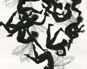 "Naughty fairies - drawing in pencil: ""Frolicking Fairies 2"" - original art by Nancy Farmer (unframed)"