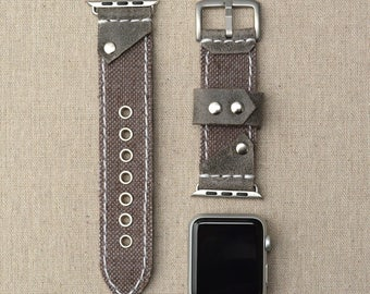 Leather and Canvas Apple Watch Band 42mm - iWatch Band Fabric Accessories - Apple Watch Strap Leather 38mm - iWatch Strap Adapter Silver