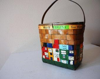 Vintage Wood Purse,Caro Nan, Basket Purse,Decoupaged