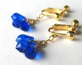 Cobalt Blue Clip On Earrings, Gold Dangle Screw Back Clipons, Blue Teardrops, Ginny