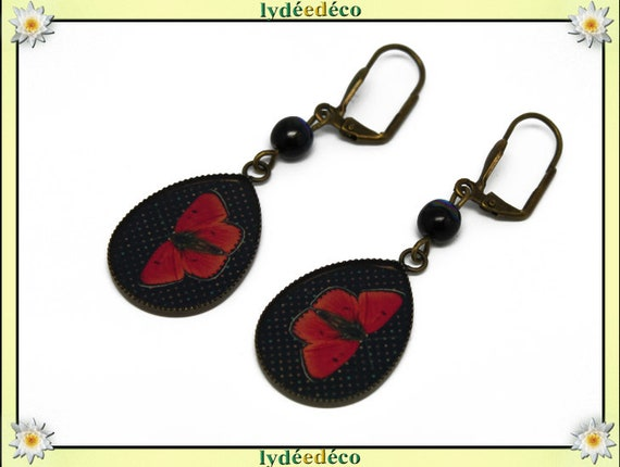 Drop earrings retro vintage black and Red Butterfly bronze resin bead glass medallions