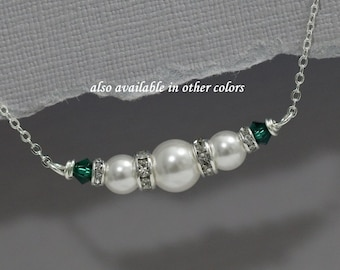 White and Green Bridesmaid Gift Necklace, Swarovski White Pearl and Emerald Bridesmaid Necklace, Personalized Bridesmaids Gifts