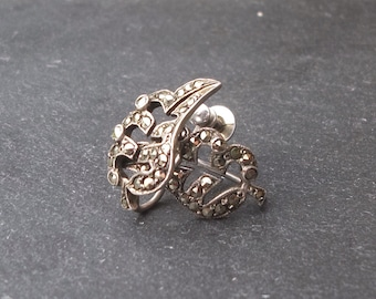 Vintage 1940's Silver and Marcasite Leaf Earrings
