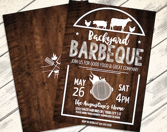 Backyard BBQ Party Invitation - Barbecue Invite, Barbeque Party, BBQ Invite | Editable Text - Instant Download PDF Printable