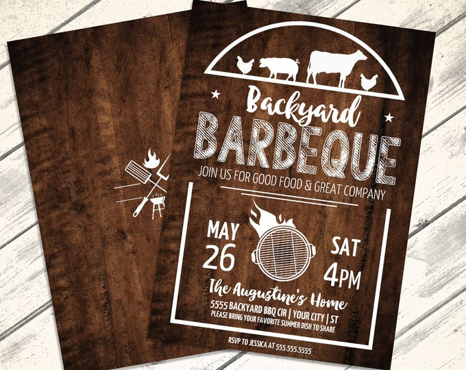 Backyard BBQ Party Invitation - Barbecue Invite, Barbeque Party, BBQ Invite   Editable Text - Instant Download PDF Printable