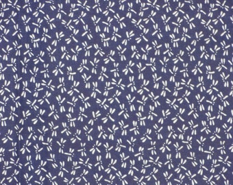 Dragonfly Fabric Tenugui 'Navy Blue Dragonflies' Motif Japanese Cotton Gauze w/Free Insured Shipping