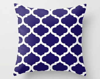 Moroccan Pattern Pillow with insert - Navy and White - Modern Home Decor -