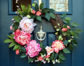Bright Pink Spring Summer Floral Grapevine Wreath - Hot Pink, Light Pink, Coral, and Peach Asymmetrical Flowers & Green Leaves