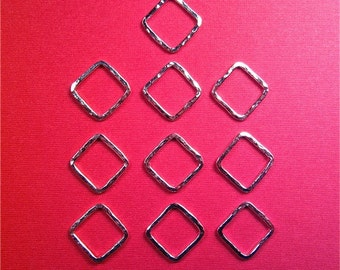 Handmade Supplies 10 small square sterling silver hammer textured links 16gauge for diy jewelry, beading, crafting